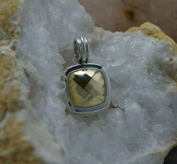 David Yurman 18K & Sterling Silver Albion Pendant Checkerboard Gold Center