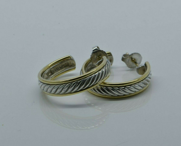 David Yurman 18K and Sterling Silver 3/4 Hoop Earrings