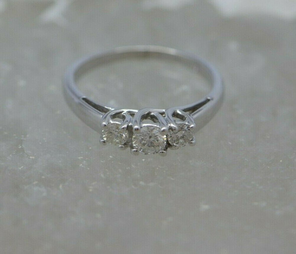 14K WG 1/2ct tw Diamond 3 Stone Ring Size 5.75 Circa 1980