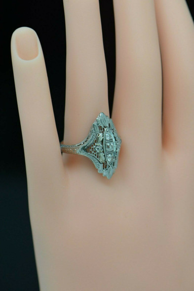 Circa 1920's Platinum Estate Ring with Mine Cut Diamonds, Size 5.75