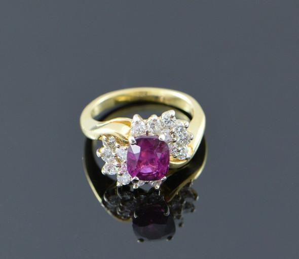 18K Yellow Gold Reddish-Purple Sapphire and Diamond Ring Circa 1960, Size 4