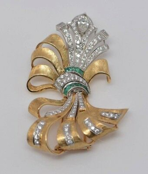 14K yellow Gold & Platinum Diamond and Emerald Fur Clip, Circa 1950