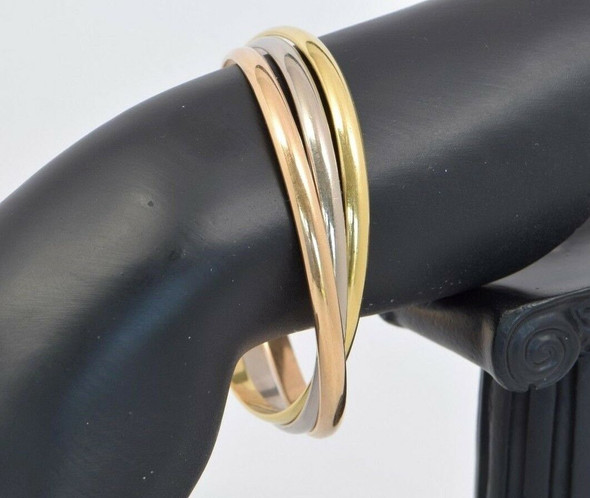 Cartier 18K Tri-Color Gold Trinity Rolling Bangle Bracelet