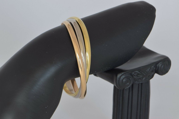 Cartier 18K Tri-Color Gold Trinity Rolling Bangle Bracelet