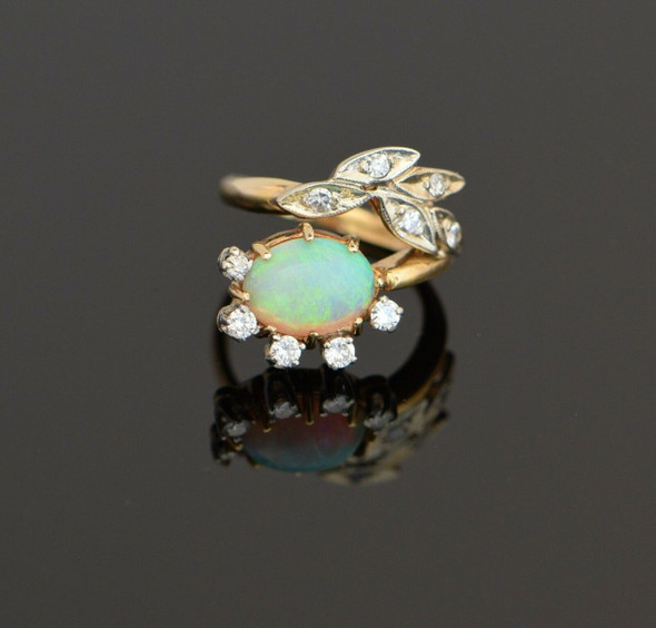 18K Yellow Gold Opal and Diamond Floral design Ring Circa 1950, Size 2