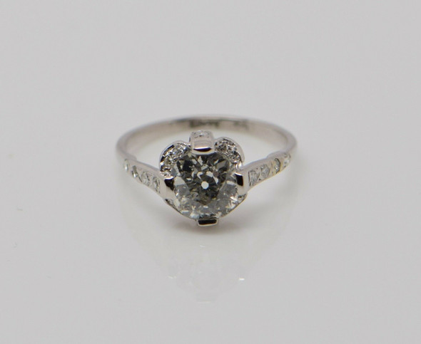 Platinum Diamond Ring w/Old Mine Cut 1.35 ct. Cushion Shape Center , size 4.75