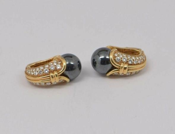 Circa 1960 Bvlgari 18K Yellow Gold Diamond and Hematite Sphere Ear Clips