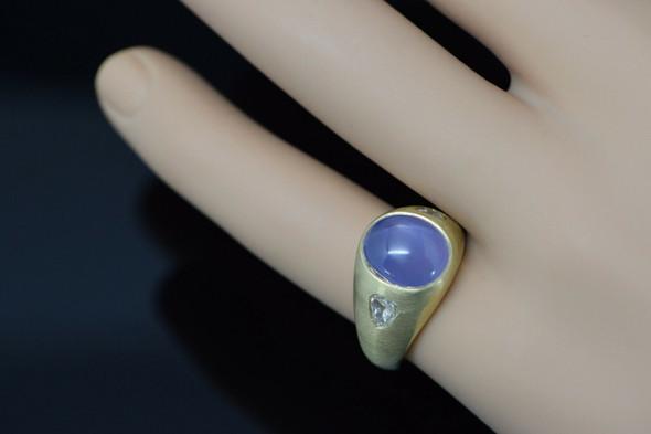 18K Yellow Gold Men's Star Sapphire and Diamond Ring Circa 1975, Size 9