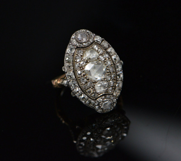 19th Century Diamond Ring, Marquise Shaped Head with Rose & Old Mine Cut Stones