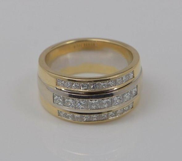 Custom Made 14K Yellow & White Gold Triple Diamond Band 5+ ct.tw., Size 12.5+