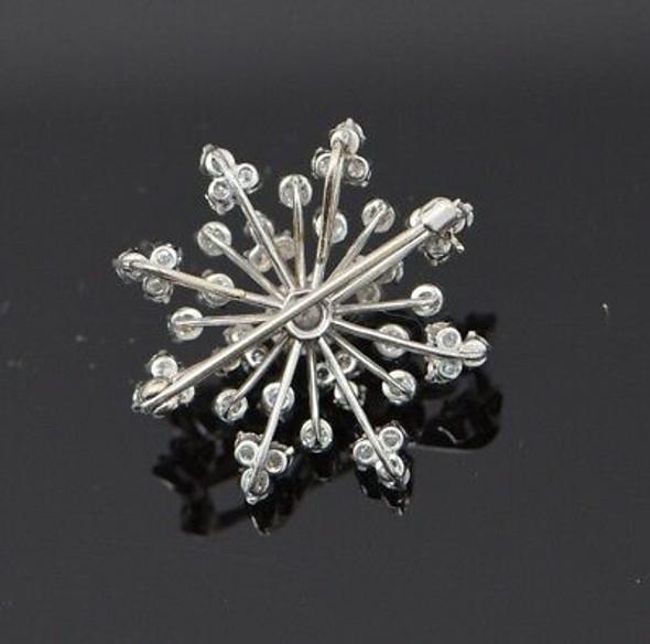 Superb Platinum Snowflake Diamond Pin/Pendant, circa 1950