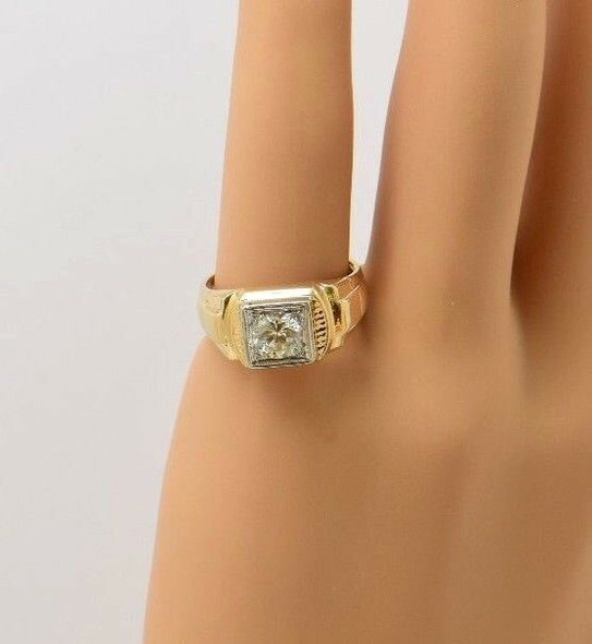 14K Yellow Gold Men's Diamond Signet Ring app. 1.25 ct. Circa 1950, size 9.75