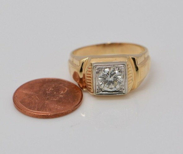 14K Yellow Gold Men's Diamond Signet Ring app. 1.25 ct. Circa 1950, size 9.75
