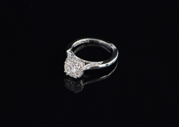18K White Gold Diamond Halo Engagement Ring, Size 4