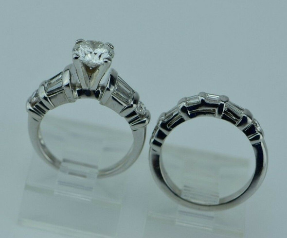 14K White Gold Diamond Engagement Ring & Wedding Band Set, Size 4.25