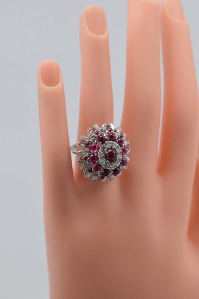 18K White Gold Superb Large Ruby & Diamond Cocktail Ring Circa 1950, Size 6