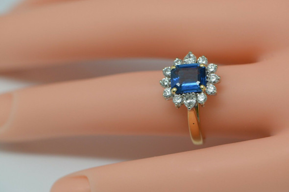 18K Yellow Gold Sapphire and Diamond Ring, Size 5.5
