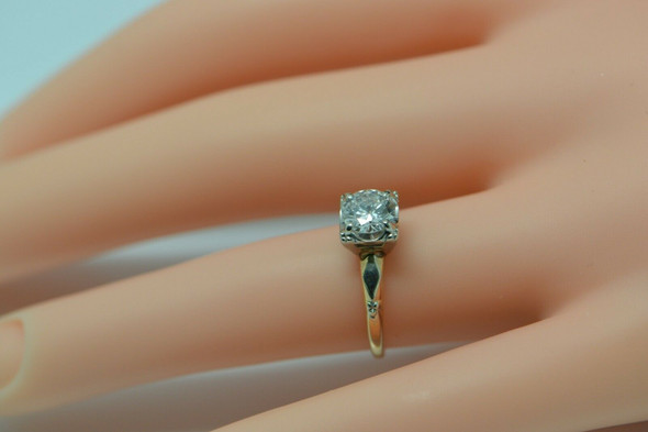 14K Yellow Gold Transitional Cut Diamond Ring, Circa 1950, Size 5.5