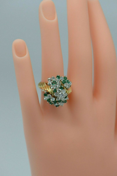 18K Yellow Gold Large Diamond and Emerald Cluster Ring Circa 1970, Size 6.5