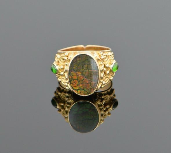 18K Yellow Gold Mosaic Fire Opal & Green Tourmaline Ring Circa 1970, Size 6.25
