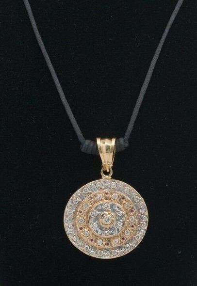 "14k Yellow Gold ""Hippy Pendant"" Elevated Disc Style with Diamonds and Rubies"