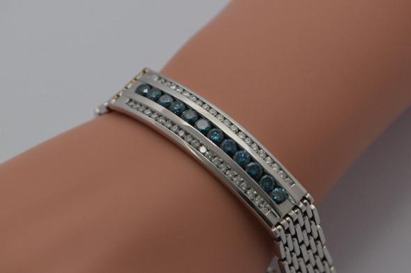 Men's 14K Blue & White Diamond Bracelet - White Gold, 5 carat tw, Italian Made
