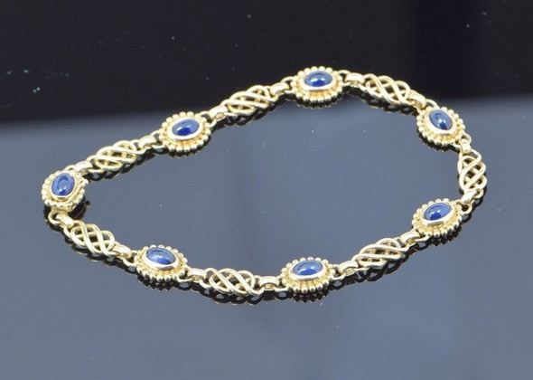 "1980's G. Jensen 18k Yellow Gold Bracelet with 7 Sapphire Cabochons, 8"" Long"
