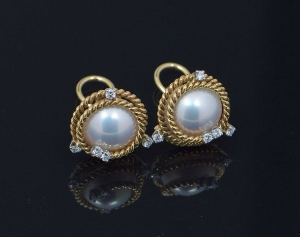 Tiffany & Co. 18K Yellow Gold & .950 Platinum Pearl and Diamond Ear Clips