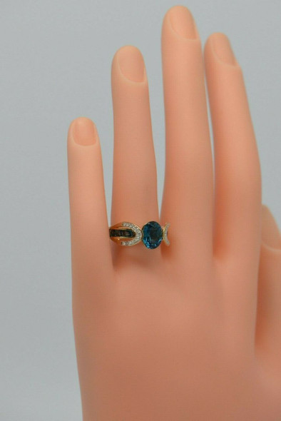 10K Yellow Gold Blue Topaz and Diamond Ring Circa 1990, Size 7.25