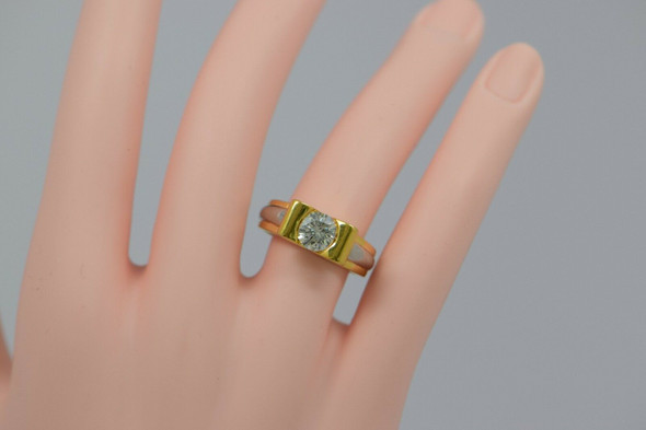 18K Yellow Gold and Platinum Diamond Ring 1+ ct., Size 7