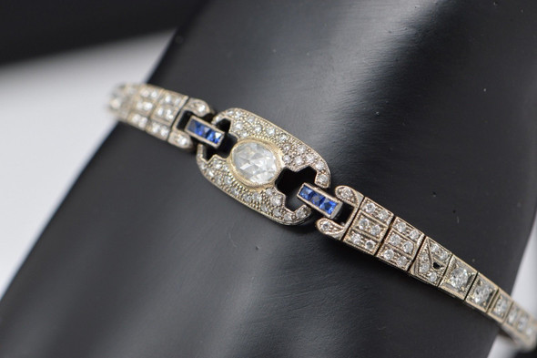 Art Deco 18K White Gold Diamond and Sapphire Bracelet, circa 1925