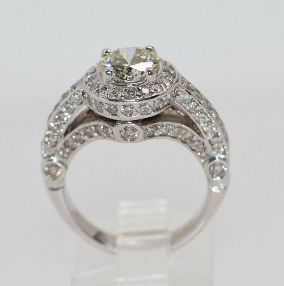 14K White Gold 2+ ct. tw. Diamond Halo Ring, size 5.25