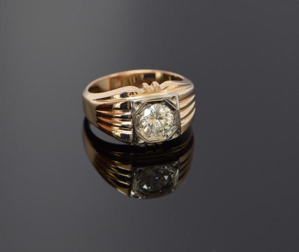 14K Yellow Gold Men's 1.25ct. Diamond Ring Circa 1940, Size 10+