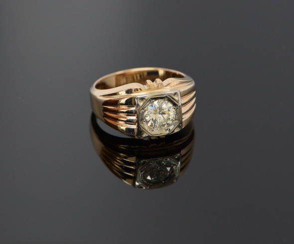 14K Yellow Gold Men's 1.25ct. Diamond Ring Circa 1940, Size 10+
