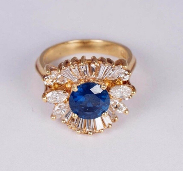 18K Yellow Gold Sapphire and Diamond Cocktail Ring, size 6.25