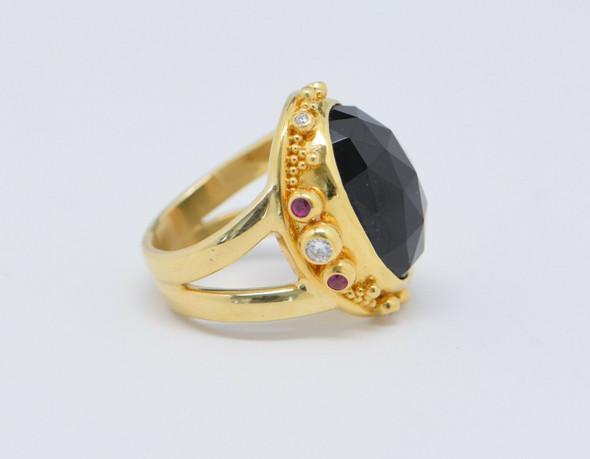 """18K & 22K Yellow Gold """"Zaffiro"""" Black Tourmaline, Ruby & Diamond Ring, size 5.5"""