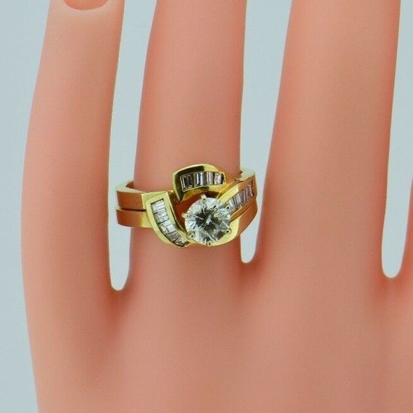 14K Yellow Gold Diamond Engagement Ring & Wedding Band Set, Size 6.25