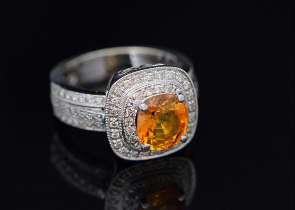 14K White Gold Diamond Halo and Orange Sapphire Ring, Size 7.5