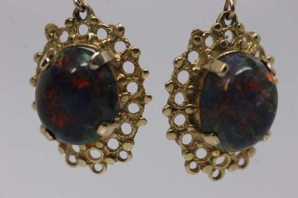 14K Yellow Gold Black Opal Filigree Earrings, circa 1950's