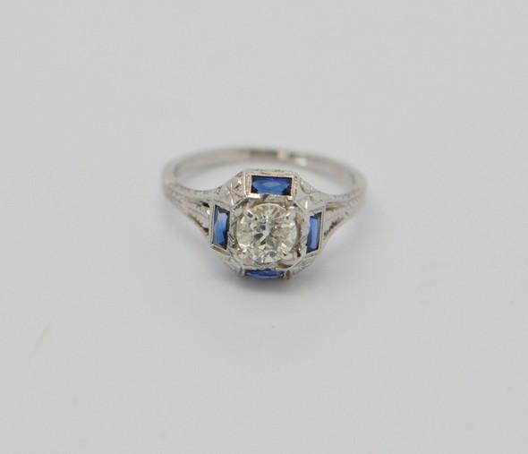 18K Vintage Superb White Gold Diamond & Sapphire Ring Circa 1920, Size 6.5