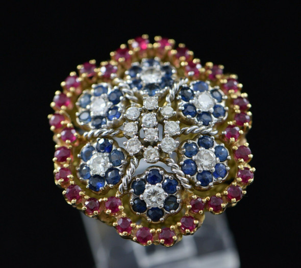 18K Yellow Gold Sapphire, Ruby and Diamond Cluster Ring Circa 1960, Size 3.75