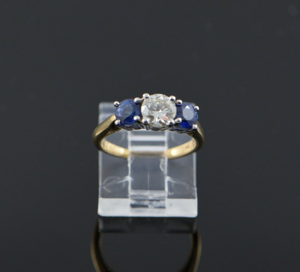 14K White Gold Diamond and Sapphire 3 Stone Ring, Size 6