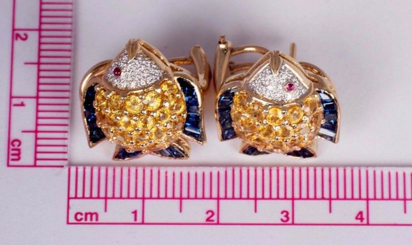 18K Yellow Gold Fish Design Earrings with Diamonds, Yellow, Blue & Red Sapphires