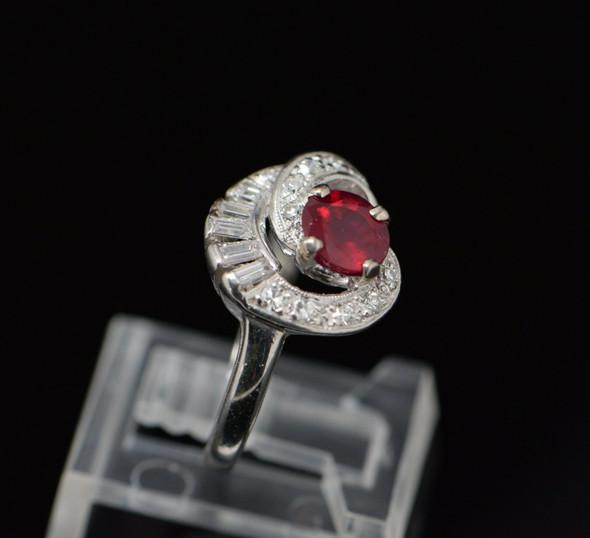 Superb Circa 1970 Platinum Ruby & Diamond Ring, Size 5