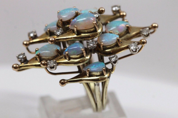 Large & Superb 14K Yellow Gold Modernist Opal & Diamond Cluster Ring size 6
