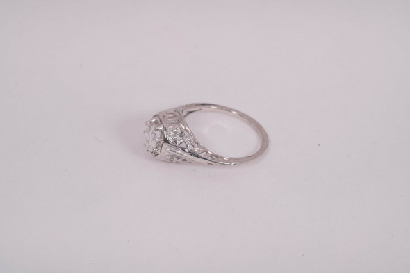 Vintage 18K White Gold Filigree Diamond Ring app.3/4 ct. Solitaire, size 6.25