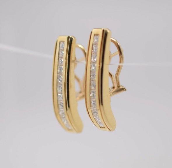 14K Yellow Gold Diamond Rectangular Ear Clips, 3 ct. tw.