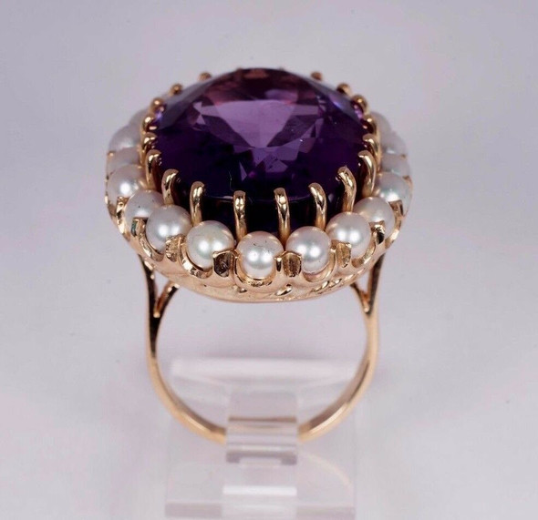14K Yellow Gold Large Amethyst Surrounded by Pearls app. 20ct. Ring, Size 7.25