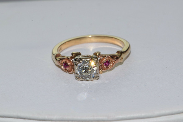 14K Yellow Gold Antique old Miner Diamond & Ruby Ring Circa 1910, size 7.25