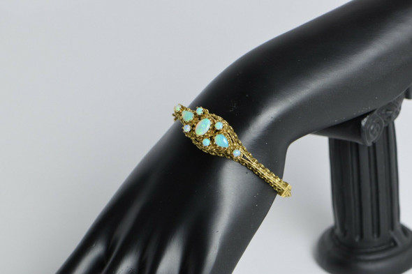 14k Yellow Gold cast filigree opal bangle bracelet, Circa 1950's